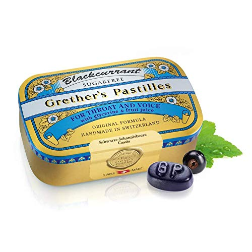 Grether's Pastilles Sugar Free Formula for Dry Mouth and Sore Throat Relief, Blackcurrant, 3.75 oz. Box