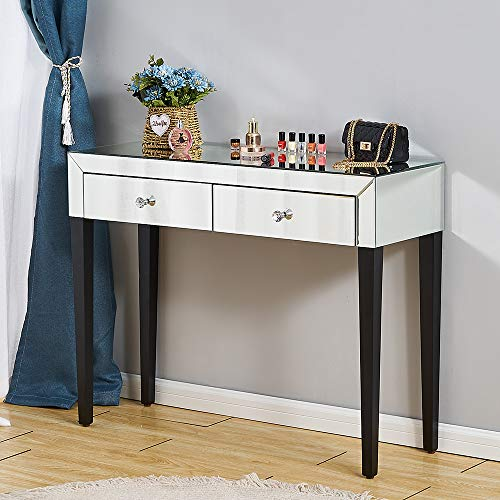 PananaHome Mirrored Dressing Table Glass Cosmetic Bedside Table Makeup Vanity Dresser with 2 Drawers Console Desk Dresser Bedroom Furniture