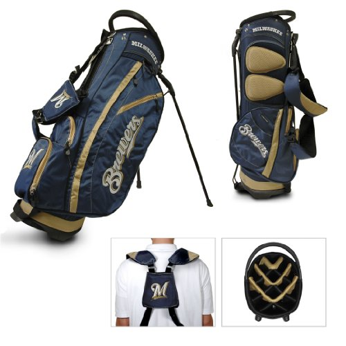 Team Golf MLB Milwaukee Brewers Fairway Golf Stand Bag, Lightweight, 14-way Top, Spring Action Stand, Insulated Cooler Pocket, Padded Strap, Umbrella Holder & Removable Rain Hood