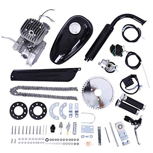80cc Bicycle Engine Kit, Motorized Bike 2-Stroke, Petrol Gas Engine Kit,Air-Cooled Motor Kit for Motorized Bicycle Push Bike - Shipped Form US (Silver)