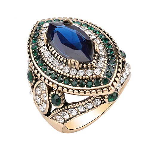 CKHAO Women Ring - Antique Gold Plated Turkish Style Multi-Colored Gemstone Vintage Ring Women Jewelry J0769G (9)