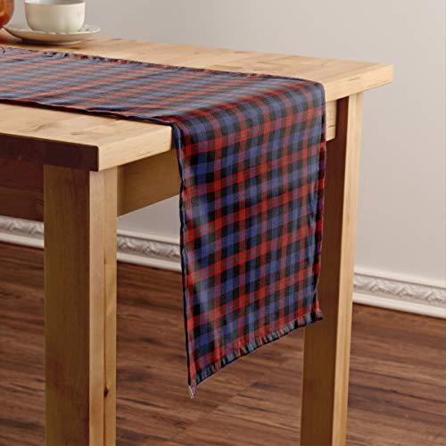 CICIDI Camino de mesa corto de tartán escocesa Clan marrón, rojo y azul real, mantel para fiestas, cenas, vacaciones, cocina, 33 x 70 pulgadas