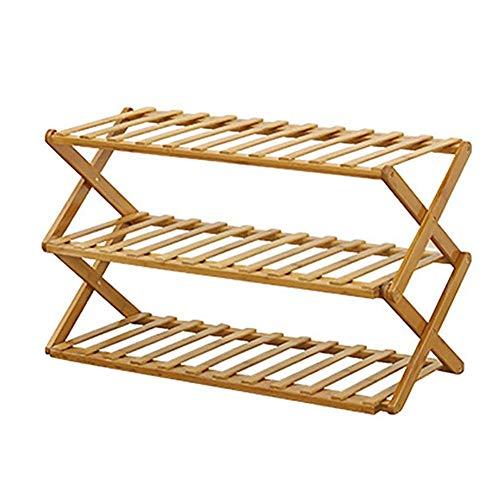 qeryuyh Zapatero Plegable Multifuncional de bambú para Zapatos Estante de Madera para Almacenamiento de Zapatos para Pasillo Sala de Estar Dormitorio y Pasillo (3 Niveles)