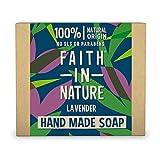 Faith In Nature Jabón de Manos Natural de Lavanda, Nutritivo, Vegano y No Testado en Animales, sin Parabenos ni SLS 100 g