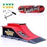 Sipobuy DIY Assembly Mini Finger Skateboard Deck Truck Skate Park Board con Conjuntos de Accesorios de rampa (Escena E)