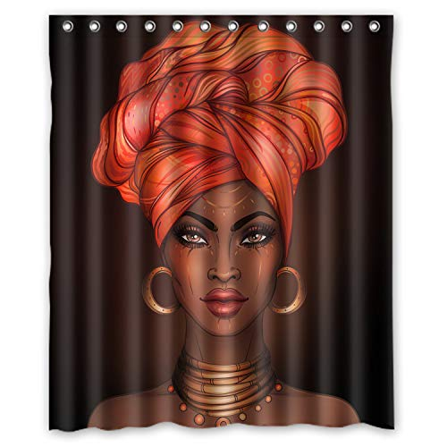 KXMDXA African American Woman Pretty Girl Shower Curtain Polyester Fabric Shower Curtain Size 60 X 72 Inch