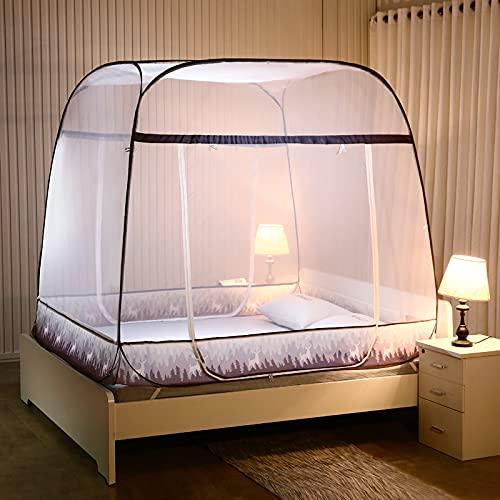 Depruies moskitonetz doppelbett Moskitonetz fenster, A25 Pop Up Moskitonetz für Doppelbett, Portable Zelt Travel Doppeltür Reißverschluss Bettnetz, einfache Installation, feinmaschig, für Schlafzimmer