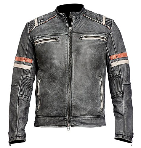 Leatherwear Cafe Racer Vintage Retro Motorcycle Motocicleta del Estilo del Motorista Genuine Negro Cuero Chaqueta Motocicleta del Estilo del Motorista con Rojo Stripes on Sleeves- L