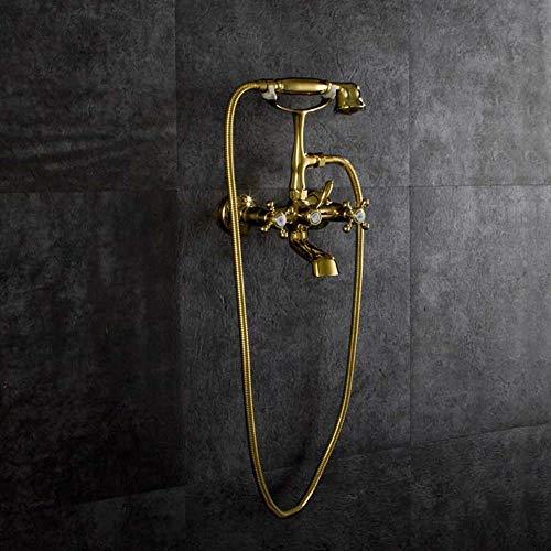 IREANJ Conjuntos de bañera de cobre europeo grifo de la bañera en la pared baño grifo de ducha 2 función agua caliente y fría válvula de mezcla de mano sistema de ducha fija ducha baño