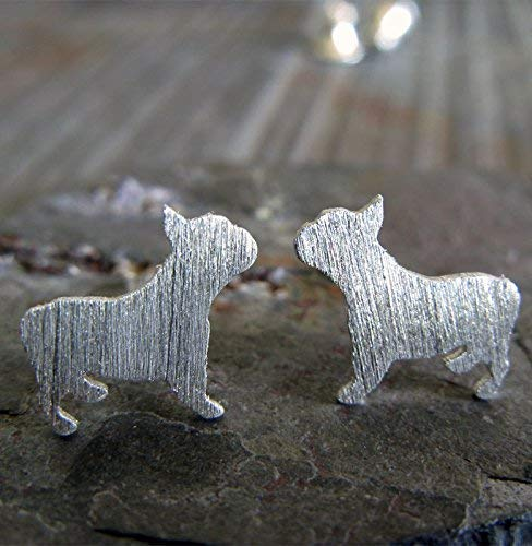 French Bulldog Frenchie stud earrings brushed sterling silver dog jewelry. Handmade in the USA.