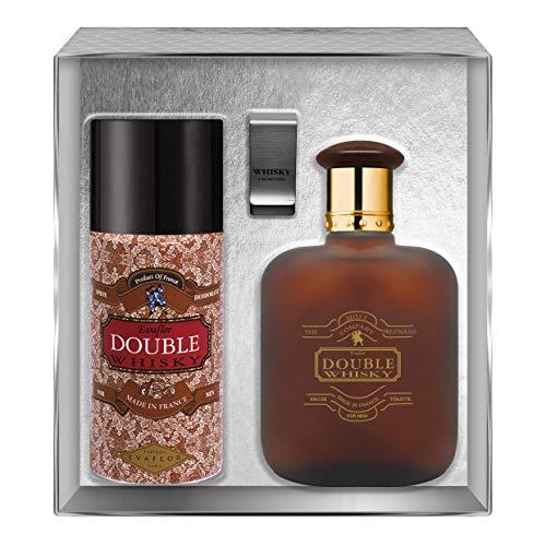 Evaflorparis Double Whisky Gift Box Eau de Toilette 100 Ml + Déodorant 150 Ml + Money Clip Set Natural Spray Men Perfume Evaflorparis 520 g