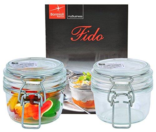 Bormioli Rocco 2er Set Drahtbügelglas FIDO, 125 ml, Einmachglas mit Bügelverschluss, inkl. Rezeptheft