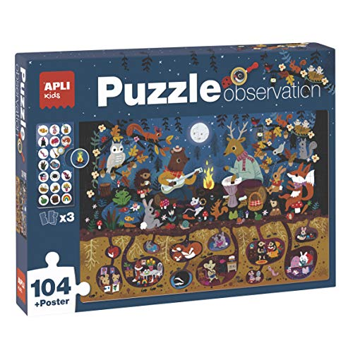 APLI Kids- Bosque Puzle Observation, 104 Piezas, Multicolor (18507) (Juguete)