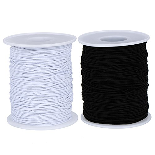 2 Roll 0.8 mm Elastic Cord Thread Beading Threads Stretch String Fabric Crafting Cord for Jewelry Making (Black+White, 100 m)