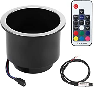 Terisass Drink Cup Holder, IP66 Waterproof Drink Cup Holder with Plastic RGB LED Light Remote Control Marine Boat Car Truck RV