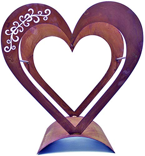 Preisvergleich Produktbild Rostikal Edelrost Herz Holzregal Metall 50 x 30cm - Kaminholzregal Brennholz Rost Deko Herz Gartendeko Holzkorb