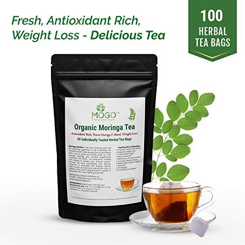 Organic Moringa Tea,100 Single Tea Bags.Energy Booster, Antioxidant Rich Green Tea (100 Tea Pack)