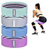 Slip Fabric Booty Bands,4 Level Resistance Bands with Workout Guide and Carry Case,Working Out Band for Glute, Thigh, Squat with Workout Resistant Fitness Training Guide to Exercise at Home or Gym