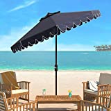 Safavieh PAT8010A Collection Venice Navy and White Single Scallop 9Ft Crank Outdoor Push Button Tilt Umbrella