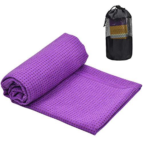 Toalla Yoga Antideslizante para Colchoneta, 183x63cm Toalla de Microfibra para Esterilla Yoga, Absorbente de Sudor Toalla Yoga Grande, Secado Rápido Toalla de Yoga con Bolsa para Pilates(Púrpura)