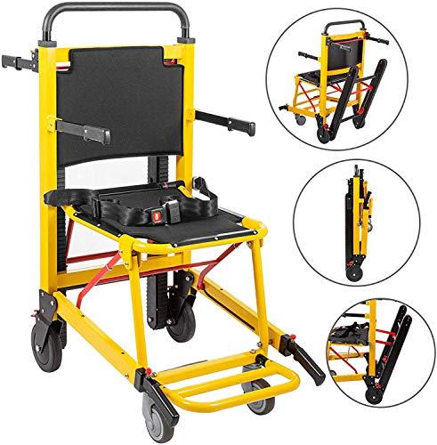DYHQQ Treppengängigen Rollstuhl 350 lbs Manuelle Treppen Stuhl 200W Notfalltreppensteigen Stuhl 4-Rad-Faltbarer Raupen Evakuierung Stair Sessellifte für Senioren,Manual