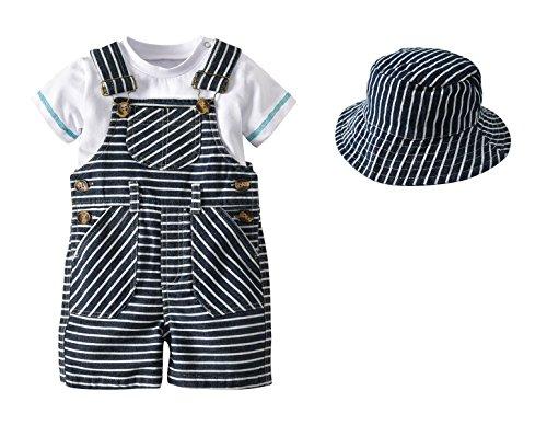 [Anzug Baby Junge] Shirt + Latzhose + Hut Baumwolle Sommer Bekleidungsset Baby Taufanzug Gentleman 80