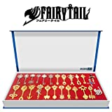 econoLED Rulercosplay Fairy Tail Lucy Set of 25 Golden Zodiac Keys + Chain Play Key Chain
