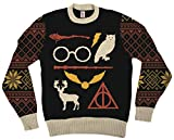 Harry Potter Owl Deathly Hallows Sign Black Ugly Christmas Sweater (Adult X-Small)