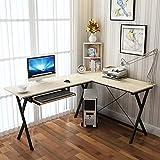 SHBV L-Forma Stabile Scrivania per Computer,Moderni Corner PC Laptop Desk,Grande Rapidità di Montaggio Workstation Tavolo Studio,Scrivania Dell'ufficio Domestico-Ciliegio 120x48x74cm