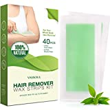 Vassoul Hair Removal Wax Strips for Leg & Body, Waxing kit with 40 Strips