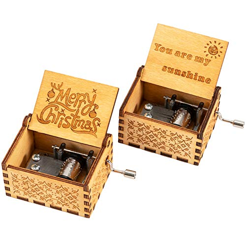 Biubee 2 Pack Christmas Wood Music Boxes- You are My Sunshine and Merry Christmas Laser Engraved Classic Wooden Hand-Cranked Musical Box for Christmas Valentines Day Birthday Gifts