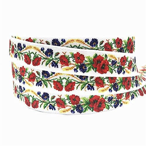 16mm leopardo flores impresión animal pliegue sobre banda elástica cinta de costura artesanía hecha a mano accesorios BRICOLAJE Bebé Diadema Pelo Lazos (Color : P821, Width : 5yard elasitc)