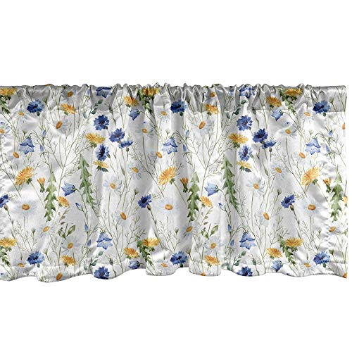 """Ambesonne Flower Window Valance, Wild Flowers Poppies and Daisies Rural Nature Scenery in Meadows Rustic, Curtain Valance for Kitchen Bedroom Decor with Rod Pocket, 54"""" X 12"""", Blue Yellow"""