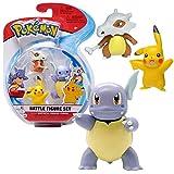 Pokemon Selección Battle Figures   Conjunto de 3 Juego de Figuras de Acción, Figuras del Juego:Wartortle. Pikachu & Cubone