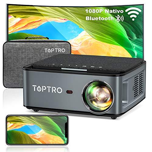 TOPTRO Proiettore WiFi Bluetooth con Custodia da Trasporto, Proiettore 1080P Nativo 7500 Lumen Aggiornato, Supporto 4D Keystone / Zoom / 4K, Compatibile con Telefono / TV Stick / PC / USB / PS4 / DVD