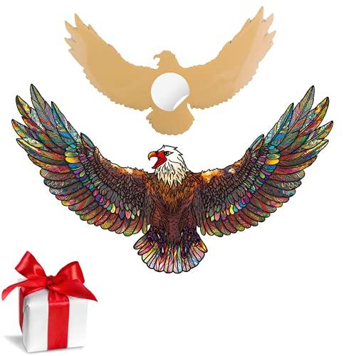 SAKHRI PARIS® - Rompecabezas de madera de animales coloridos - Ali el águila de Belleville - Juego de lluvia de ideas | Puzzle para adultos y niños - 150 piezas - Adhesivo de pared GRATIS
