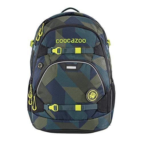 coocazoo Schulrucksack ScaleRale Polygon Bricks blau-grau, ergonomischer Tornister, höhenverstellbar mit Brustgurt und Hüftgurt für Jungen ab der 5. Klasse, 30 Liter