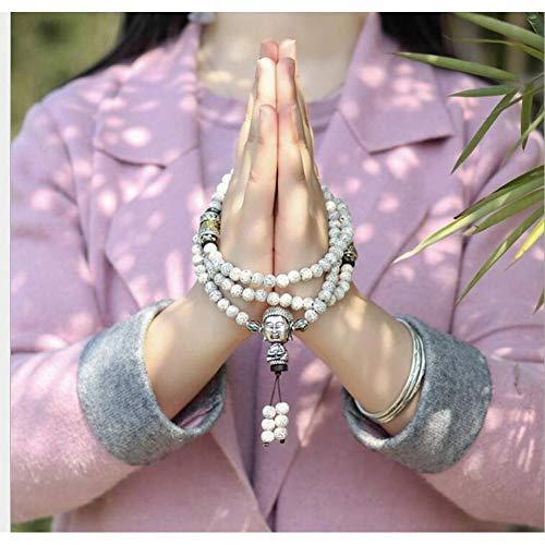 MLJSX armband mode bodhi 108 kralen buddha hoofd armband dichtheid langs de witte trompet armband