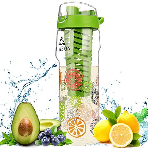 VIAEON Fruit Infused Water Bottle Fruit Infuser Water Diffuser Bottle Juicer Citrus Flavor Water Infuse Fusion Detox Bottle Define H2o Drink Infusing Water Infusion Bottles Pitcher