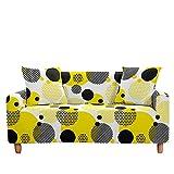 Funda de sofá 1 2 3 4 asiento, tela elástica elástica con estampado abstracto, sillón lavable, funda protectora para sofá, decoración para sofás de cuero, sofá de dos plazas (3 plazas, amarillo negro