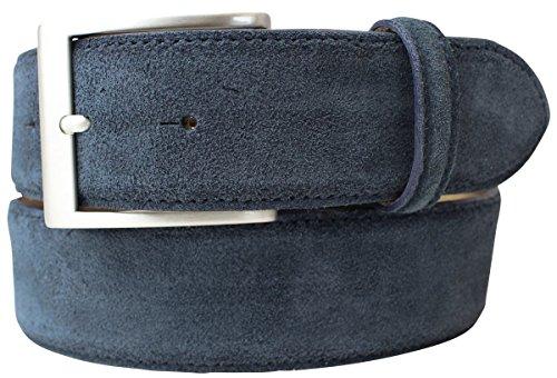 Gürtel aus Veloursleder 4 cm | Velour-Ledergürtel für Damen Herren 40mm | Wildleder-Gürtel 4cm | Dunkelblau 80cm