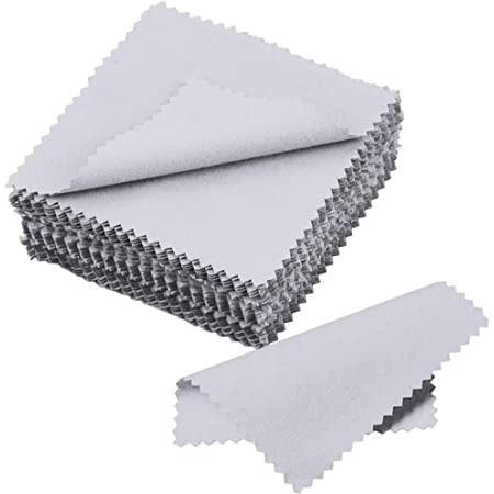 Outus Jewelry Cleaning Cloth Polishing Cloth for Sterling Silver Gold Platinum 50 Pack Grey