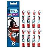 Oral-B, Testine di Ricambio Kids Star Wars per Spazzolino Elettrico Ricaricabile, 8 Pezzi
