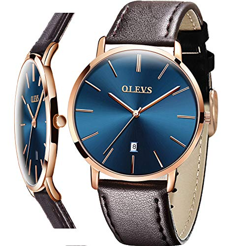 Mens Brown Leather Watches,Men's Wrist Watches Analog Date with Leather Strap Calendar Display Quartz Luxury Dress for Men Minimalist Watch Ultra Slim Classic Blue Easy Reader Watch,relojes de Hombre