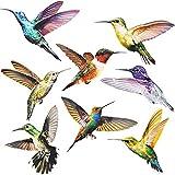 SURUDI 16 Stück Fensterbilder Selbstklebend, Fenstersticker Kolibri, Wintergarten Vogelschutz Aufkleber, Für Schutz Vor Vogelschlag, Leuchtende Farben, Kann für Wohnkultur Aufkleber Verwendet Werden