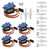 Miuzei 5 Pcs SG90 Servo Motor, Micro Servo 9G Mini Servo Motor for RC Helicopter Airplane Car Boat Robot Arm/Hand/Walking/Servo Door Lock Control with Cable Compatible with Arduino
