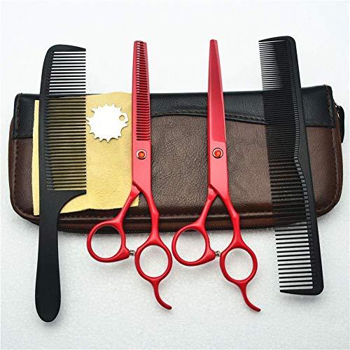 Lionha Professionelle Friseurschere Set 5.5 Zoll Haarschnitt Schere Kombination Rote Flache Schraube Salon Friseur Heimgebrauch Schneiden Salon Barbiere Home Use