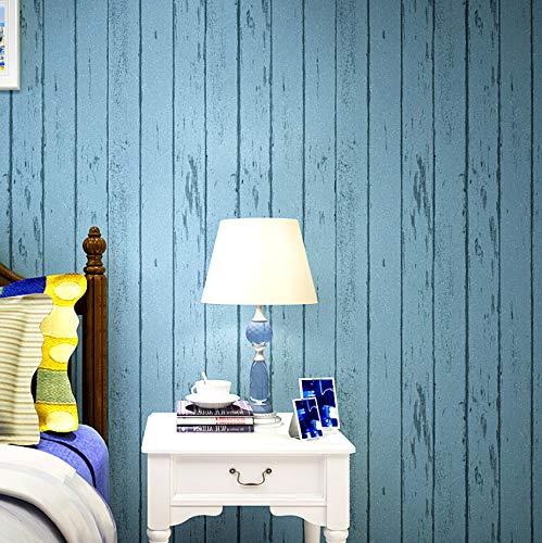 Estilo Mediterráneo Rayas Verticales Papel Pintado Vintage Azul Madera Grano Tela no Tejida Papel Pintado Rollo Papel De Parede Listrado 5.3m²