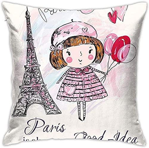 Paris A Little Girl - Fundas de almohada decorativas de 45,72 x 45,72 cm, diseño de corazones y una nube y la torre Eiffel