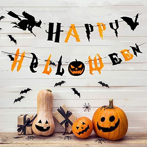 Charlemain Happy Halloween Banner zuammen mit Buchstaben, Fliegenden Hexe, gruseligen Fledermaus, Dekortations für Halloweenparty, Halloween Deko(3Meter)